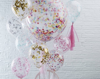 "Confetti Filled Party Balloons - Available in Gold, Silver, Pink, Blue and Multicoloured 12"" and 36"" Available"