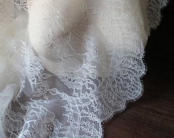 SALE Ivory Eyelash Lace Chantilly Fabric for Bridal Gowns, Mantilla Veils, Garments CH 14