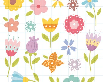 Flower clipart - Hand drawn instant download PNG graphics  - 0024