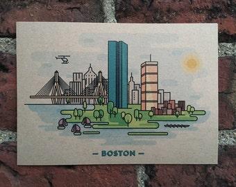 Boston Cityscape // View from the Esplanade // Postcard