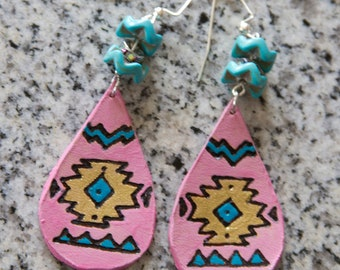 Pink, Turquoise, & Gold Leather Aztec Earrings