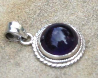 Round AMETHYST PENDANT in Sterling SIlver