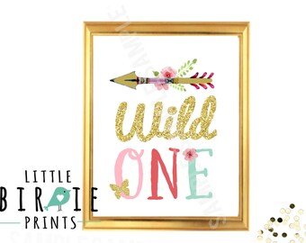 WILD ONE Birthday party Wild one decorations Wild one First Birthday Party Wild Teepee Arrow Tribal Birthday Party Girl Wall Art Sign