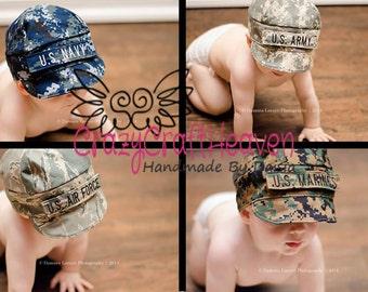 Military Cap, Baby military cap ,All Branches (newborn-Adult) Desert cap, Marines desert hat