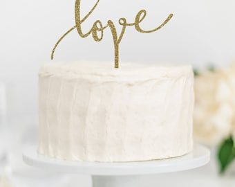 Love Cake Topper | Wedding Cake Topper | Bridal Shower Cake Topper | Romantic Cake Topper | Script Cake Topper