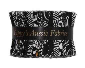 "JELLY ROLL  2.5"" X 44"" (6.5cm x 110cm) strips x 25 (5 different fabrics) - Australian Aboriginal Art Fabric - Black, White, Yellow #1"