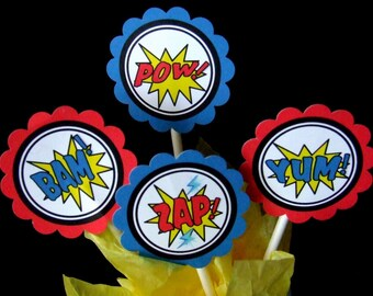 INSTANT DOWNLOAD - Printable  Superhero Cupcake Toppers  & Favor Tags