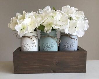 Mason Jar Centerpiece - Wedding Decor - Rustic Decor