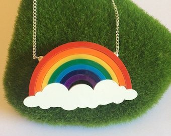 Acrylic Bright Rainbow & Cloud Necklace