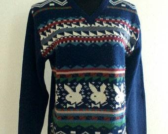 90s Novelty Sweater, Vintage Navy Blue Playboy Bunny Ski Sweater Size Large
