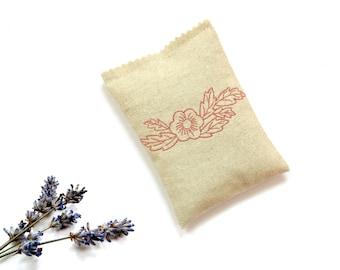 Lavender sachet bag, embroidered sachet drawer freshener, organic dried lavender buds, mom birthday gift
