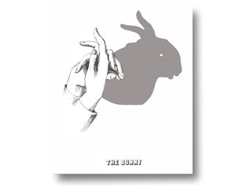 Shadow Puppet Rabbit Bunny Hare Vintage Style Art Print Black and White Gray Nursery