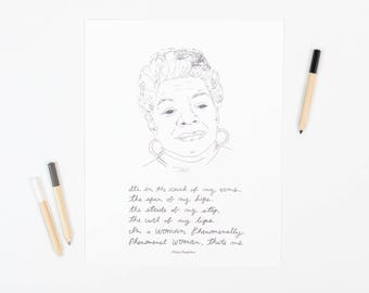 Maya Angelou art print, 8x10