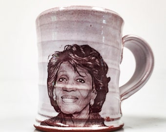 Wheel thrown mug with image of Maxine Waters