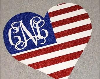 American Flag Heart Shirt With Glitter!!