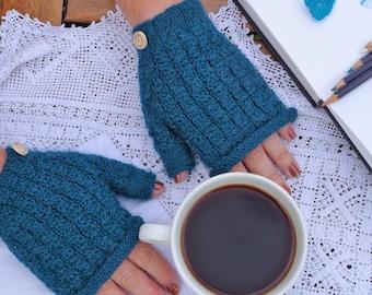 Alpaca and wool fingerless mittens 100% British Wool & Alpaca