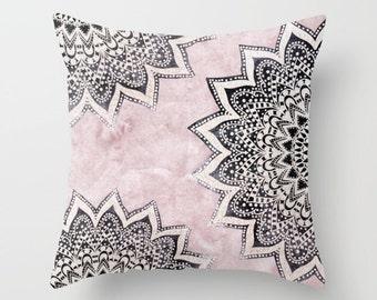 Rose BOHO NIGHT MANDALAS Bohemian Throw Pillow