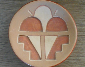 San Juan Pueblo Deeply Carved Redware Plate; likely made by Tomasita Montoya, 1940-1950 -  [#72 - TB - Shelf 4M]