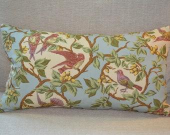 """Ralph Lauren 11"""" x 18"""" custom high-end feather lumbar pillow birds audubon french birds teal"""