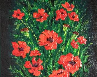 Poppy Garden Floral Framed Art