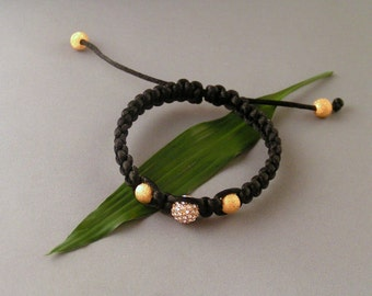Macrame Bracelet - Gold Swarovski Pave