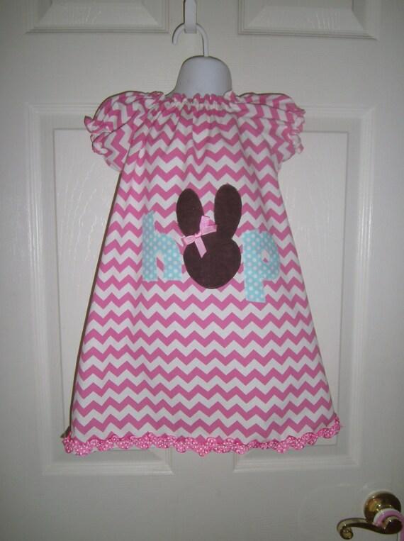 Easter Dress, Handmade Dress, Bunny Dress, Chevron Dress, Infant dress, toddler dress, girls dress, pink dress, preteen dress