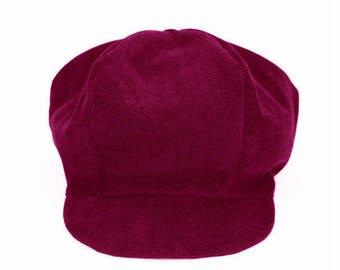 Burgundy corduroy, newsboy cap