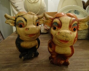 Vintage paire vache Western Shabby Figurines Carnaval