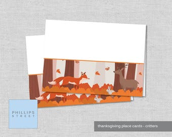 printable THANKSGIVING place cards - dinner table cards - family - instant download - grateful critters