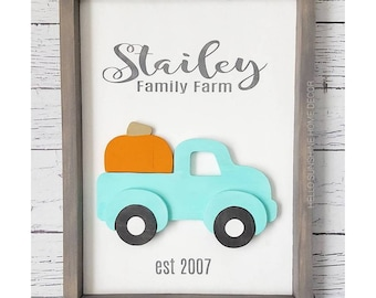 FREE SHIPPING Family Farm Truck Interchangeable Holiday Sign