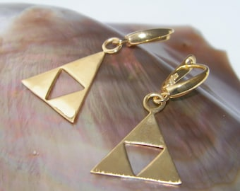 Handcrafted Solid 925 Sterling Silver Legend of Zelda Triforce Earrings 1 micron 14 K Gold Plated