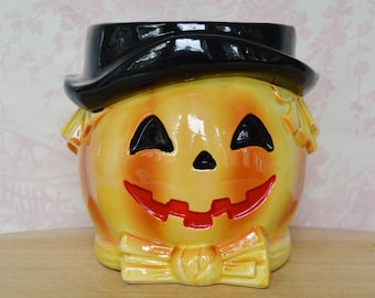 Vintage 1960s Ceramic Pumpkin Head Planter with Black Hat by Relpo