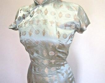 M 50s 60s Aqua Cheongsam Dress Qipao Asian Chinese Sheath Wiggle Satin Jacquard Blue Green Medium