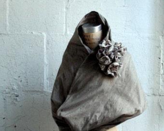 067 Gray Silk Scarf , Ruffle Flower Appliqué , Women's Fashion Accessories