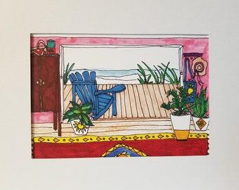 "5X7 Matted Art Print ""Boho Beach Living"""