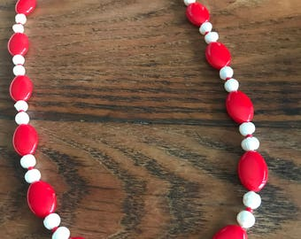 Vintage Red Glass Bead and Freshwater Pearl Upcycled Necklace with Sterling Silver Clasp