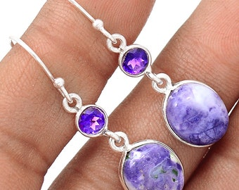 Authentic Murado Opal / Tiffany Stone Cabs. Sterling Silver Earrings. Amethyst Accents. 7395