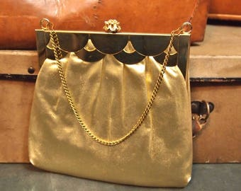 Vintage Gold Evening Bag Purse with  attached satin coin purse HL USA Clasp Framed