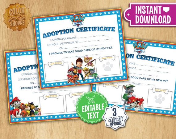 Paw Patrol Adoption Certificate Instant Download Custom