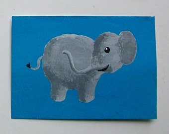 "The Blue Elephant #58 (ARTIST TRADING CARDS) 2.5"" x 3.5"" by Mike Kraus"
