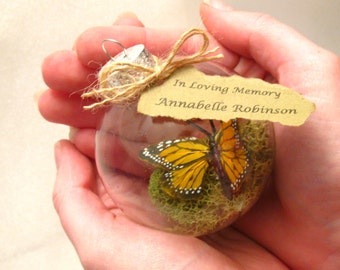 Butterfly Memorial Christmas Ornament -Monarch Captive Inside Clear Glass Ornament, In Memory of Personalization note