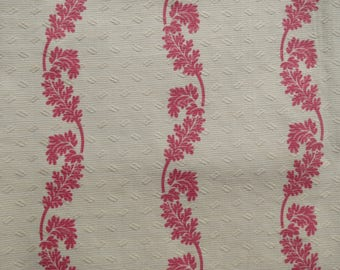 Antique French Jacquard Fabric Pink Leafy Vine Stripe Print