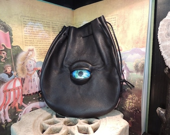 Large  Black Leather Bag with Blue Eye---New Style---