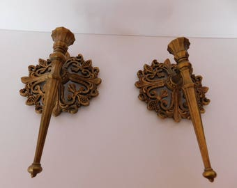 Vintage Fleur De Lis Wall Candelholders - Fabulous Detail and Antique Gold Tone finish