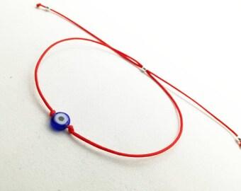 Evil eye bracelet, Red string bracelet, Protection bracelet, Dainty Minimalist bracelet, Mati bracelet, Stackable adjustable bracelet