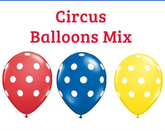 "Circus polka dot Print 11"" Balloons birthday party decorations red blue yellow"