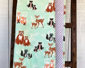 Mint Woodland Baby Quilt, Gender Neutral Baby Quilt, Modern Baby Quilt, Woodland Nursery Quilt