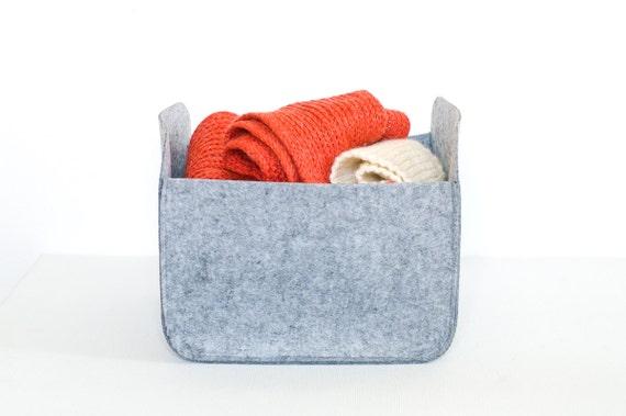 Awesome Modern Storage Basket / Felt Storage Bin / Felt Basket / Gray