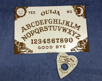 Ouija Board Laser Engrave White Hardboard 1/8 with Planchet - Size 15 X 10 in ( 38 x 25cm)