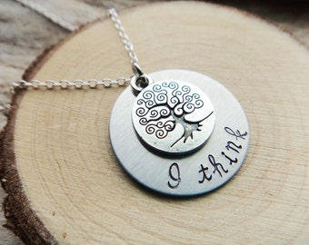 I Think Darwin Stamped Necklace- Biology Evolution Stamped Tree Disk- Biology Grad Round Pendant -Taxonomy Tree Darwin Science Necklace